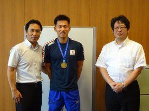 ユニバーシアード競技大会2019の銅メダリスト、日本雄也選手が本校が母校訪問!